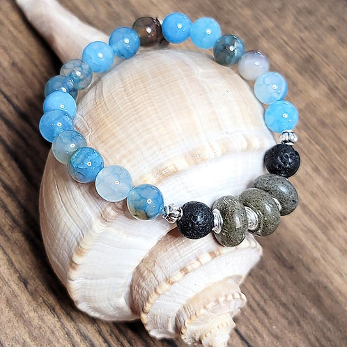 Hilton Head Beach Sand Bracelet with Aqua Agate Gemstone Beads