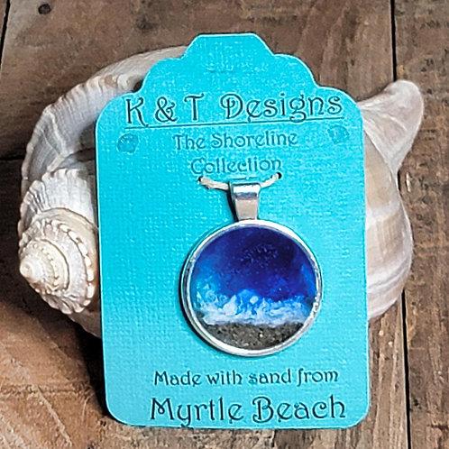 Myrtle Beach Sand Shoreline Circle Pendant / Necklace