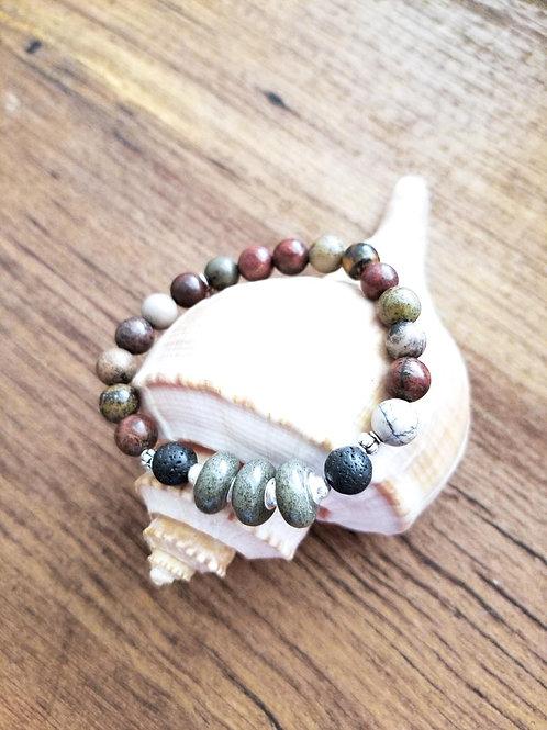 Seabrook Island Beach Sand Bracelet with Jade Gemstone Beads