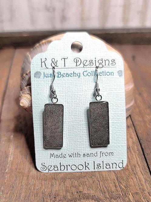 Seabrook Island Beach Sand Rectangle Dangle Earrings