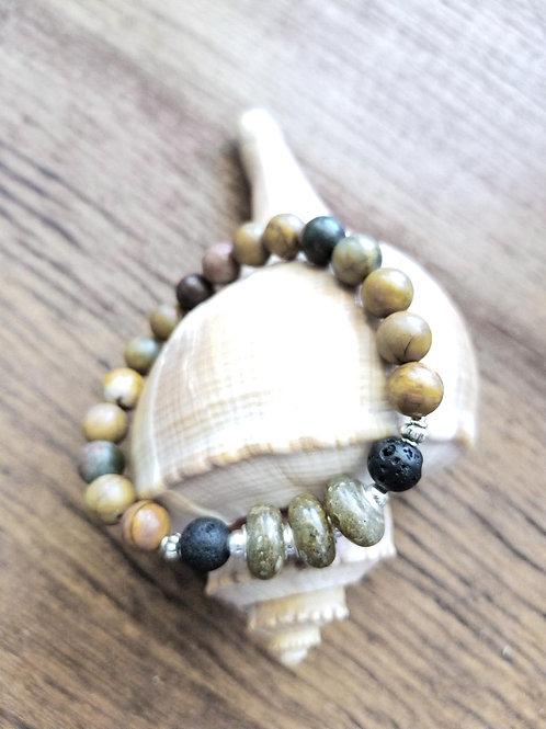 Edisto Beach Sand Bracelet with Ruby Turquoise Gemstone Beads