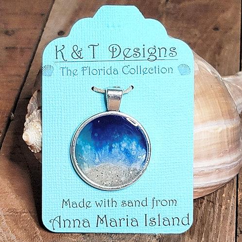 Anna Maria Beach Sand Shoreline Large Circle Pendant / Necklace