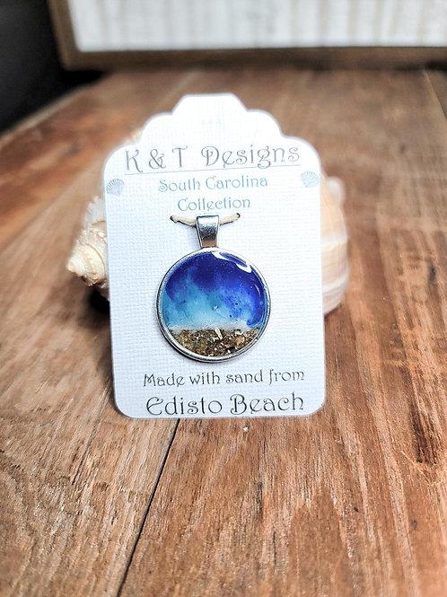 Edisto Beach Sand Shoreline Large Round Pendant / Necklace