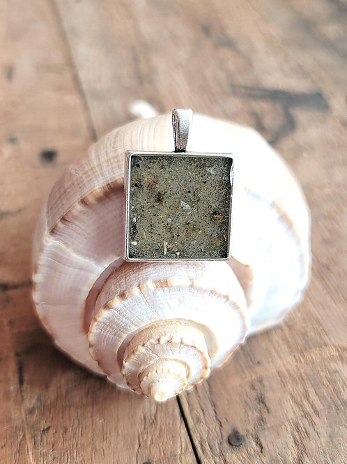 Tybee Island Beach Sand Square Pendant / Necklace