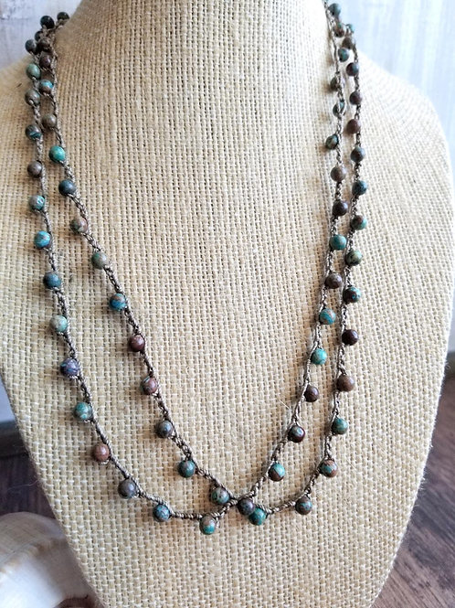 Silk Necklace with Gemstone Beads