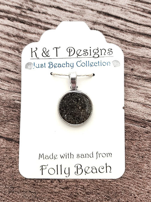 Folly Beach Sand Small Circle Pendant Necklace