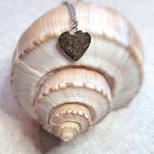 Edisto Beach Sand Heart Pendant Necklace