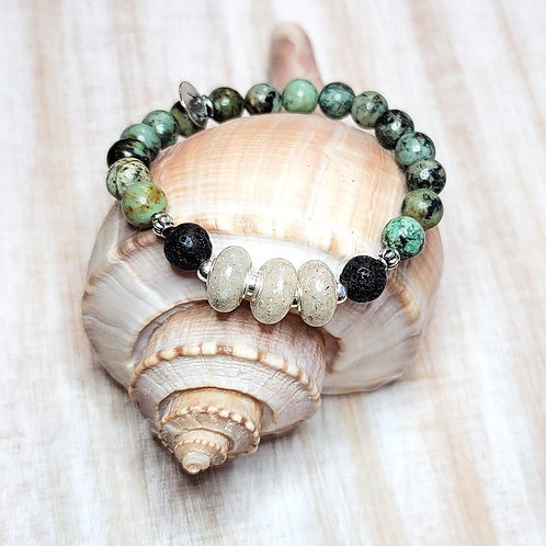 Anna Maria Beach Sand Bracelet with African Turquoise Gemstone Beads