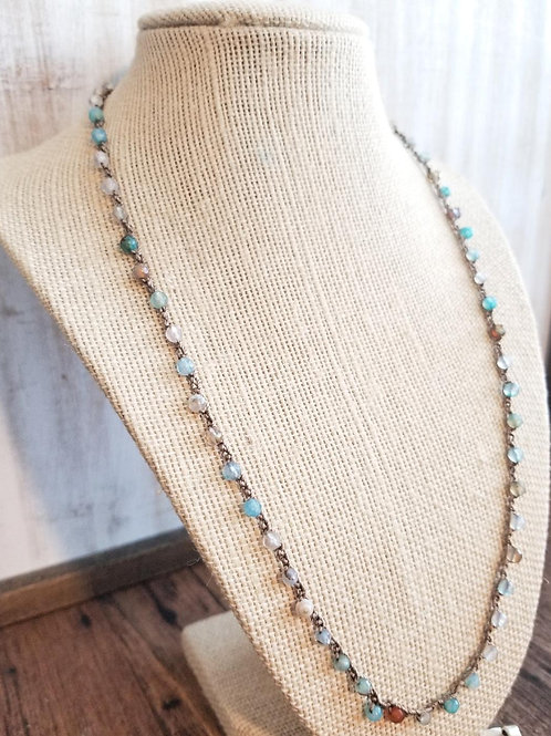 Silk Necklace with Blue Agate Gemstone Beads