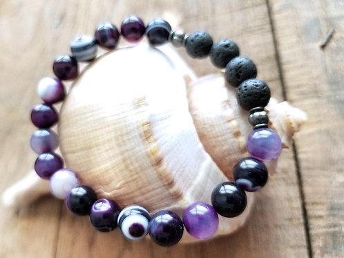 Purple Agate and Lava Gemstone Diffuser Bracelet