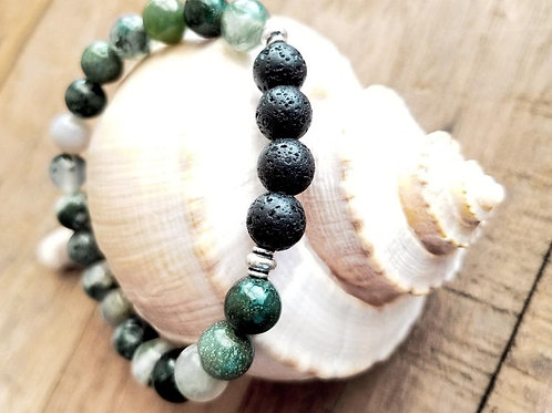 Green Tree Agate and Lava Gemstone Diffuser Bracelet
