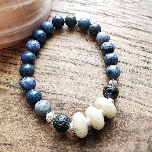St Petes Beach Sand Bracelet with Avertine Gemstone Beads
