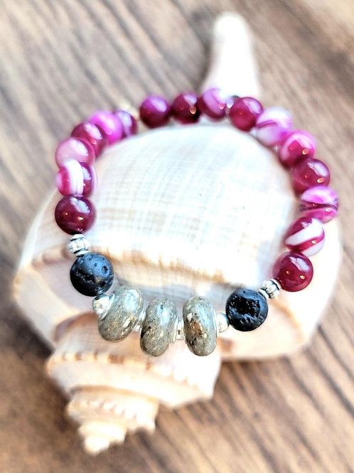 Edisto Beach Sand Bracelet with Pink Agate Gemstone Beads