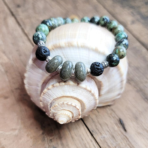 Seabrook Island Beach Sand Bracelet with African Turquoise Gemstone Beads