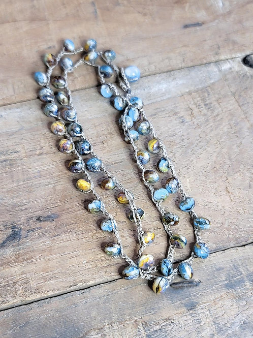 Authentic Czech Beaded Necklace on 100% Silk