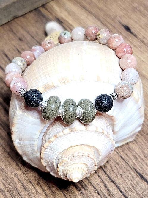 Isle of Palms Beach Sand Bracelet with Salmon Jasper Gemstone Beads