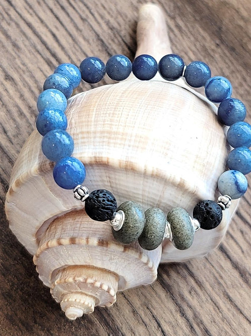 Kiawah Island Beach Sand Bracelet with gemstone beads