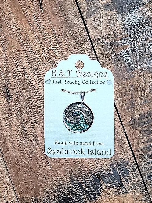 Seabrook Island Beach Sand Wave Pendant with Crushed Turquoise