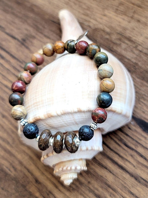 Lake Murray Beach Sand Bracelet with Ruby Turquoise Gemstone Beads