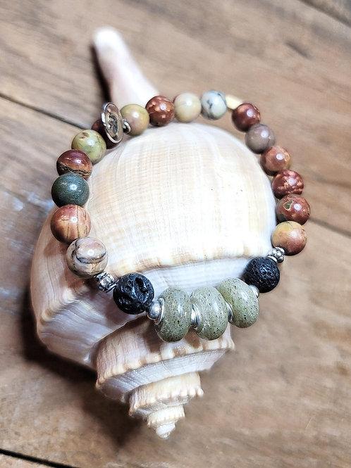 Fripp Beach Sand Bracelet with Ruby Turquoise Gemstone Beads