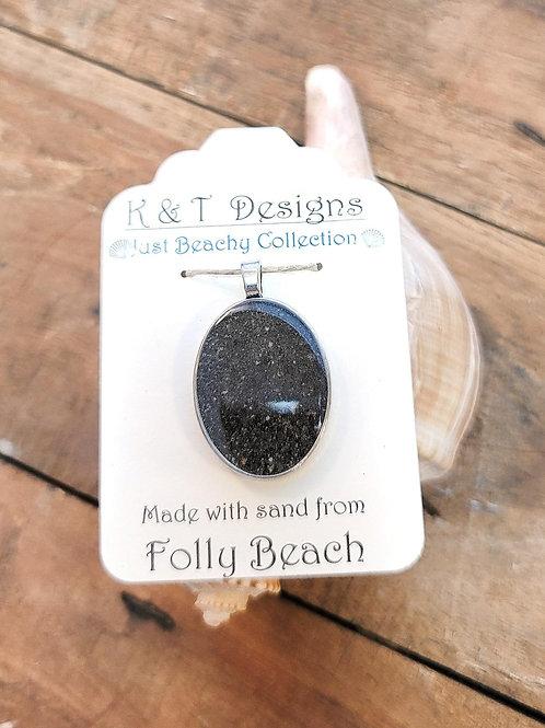 Folly Beach Sand Oval Pendant / Necklace