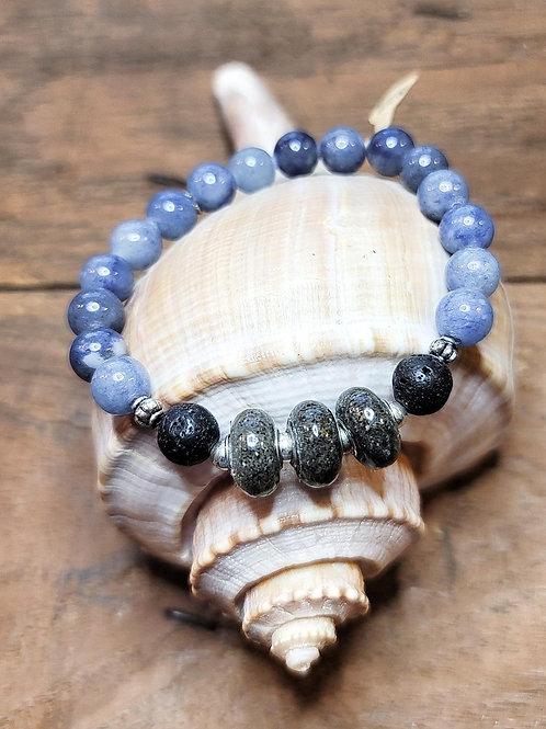 Folly Beach Sand Bracelet with Aventurine Gemstone Beads