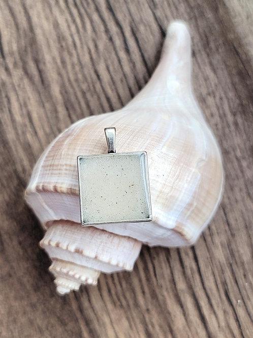 Destin Beach Sand Square Pendant Necklace