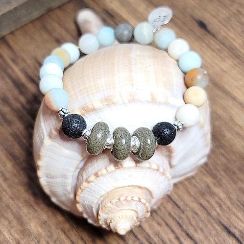 Isle of Palms Beach Sand Bracelet with Amazonite Gemstones