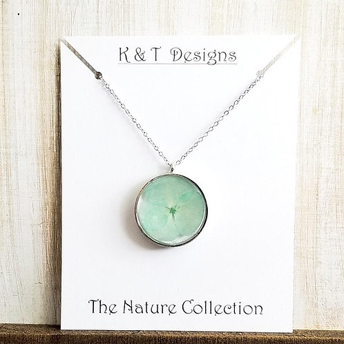 Mint Green Pressed Pansy Necklace