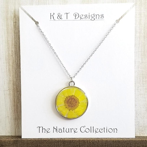 Pressed Yellow Daisy Necklace