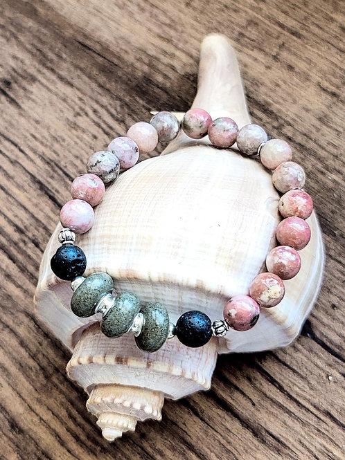 Kiawah Island Beach Sand Bracelet with Salmon Jasper Gemstone Beads