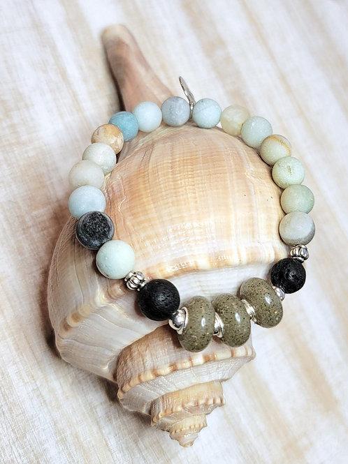 Fripp Island Beach Sand Bracelet with Amazonite Gemstone Beads