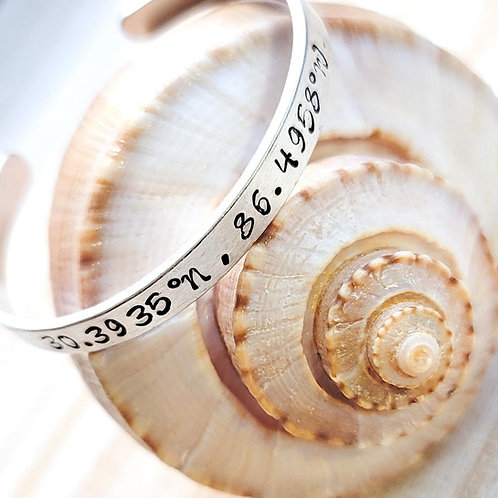 Destin Beach Coordinates Metal Bangle Bracelets