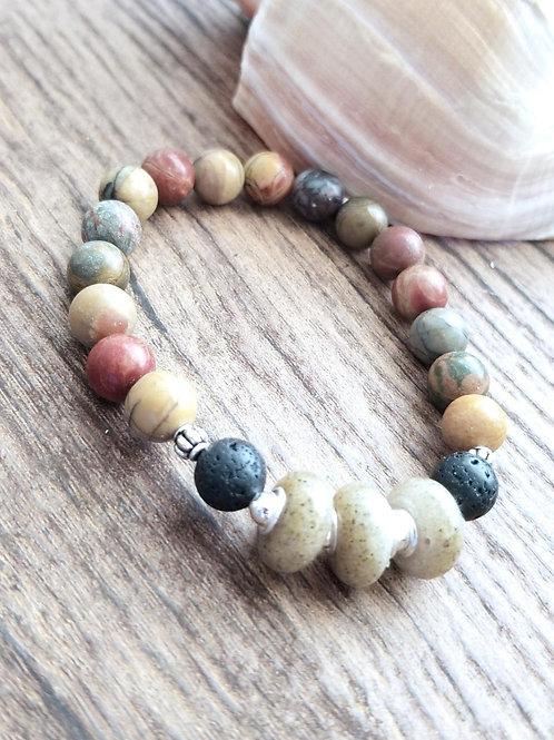 Virginia Beach Sand Bracelet with Jasper and Lava Bead Gemstones