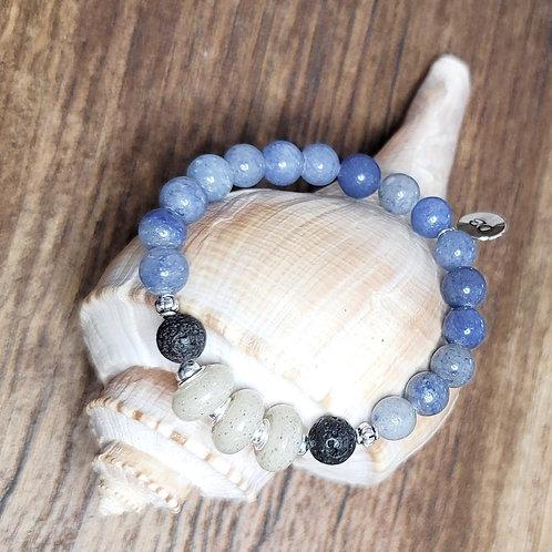 Destin Beach Sand Bracelet with Blue Aventurine Gemstone Beads