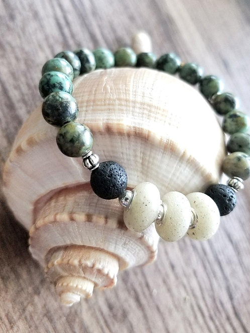 Clearwater Beach Sand Bracelet with African Turquoise Gemstones