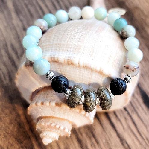 Edisto Beach Sand Bracelet with Amazonite Gemstone Beads