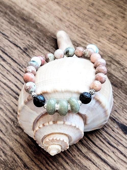 Pawleys Island Beach Sand Bracelet with Salmon Jasper Gemstone Beads