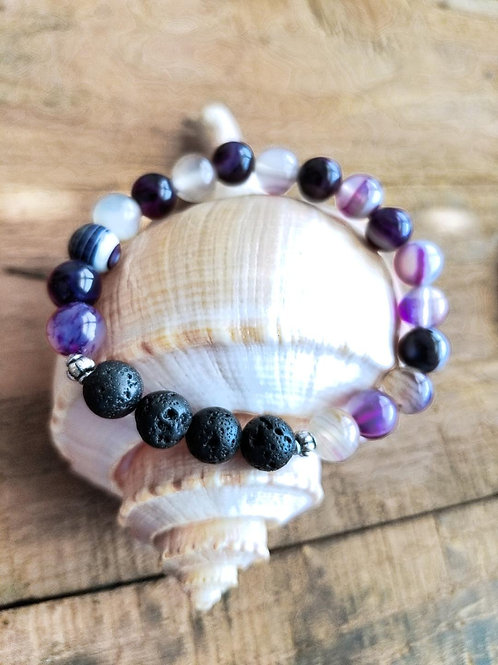Purple Agate and Lava Gemstone Diffuser Bracelet