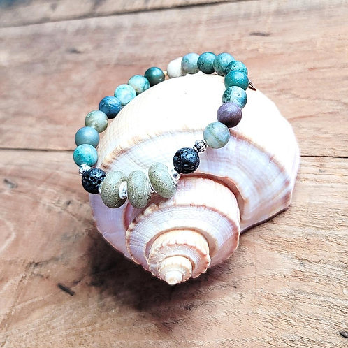Surfside Beach Sand Bracelet with Indian Agate Gemstone Beads