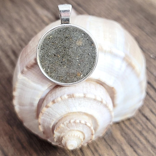 Carolina Beach Sand Large Circle Pendant Necklace