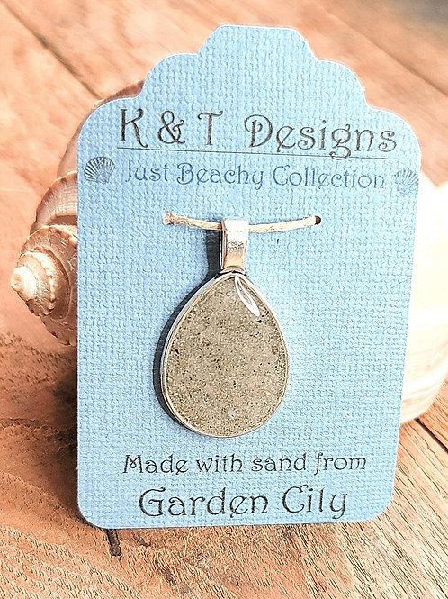 Garden City Beach Sand Teardrop Pendant Necklace