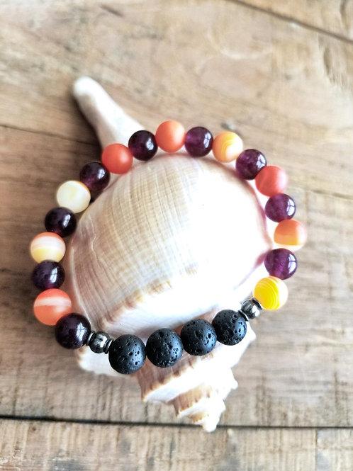 Orange and Purple Agate Gemstone Diffuser Bracelet with Lava Stones