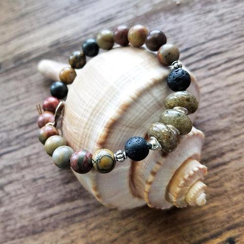 Edisto Beach Sand Bracelet with Jasper Gemstone Beads