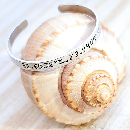 Folly Beach Sand Coordinates Metal Bangle Bracelet