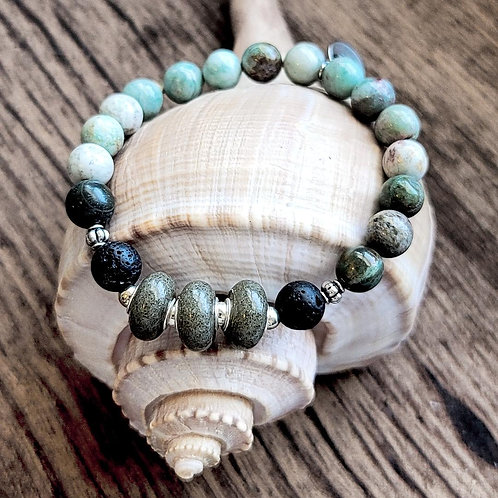 Kiawah Beach Sand Bracelet with Jade Gemstones