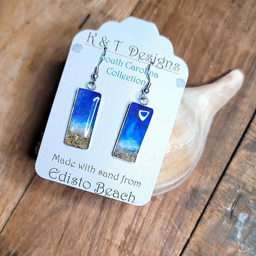 Edisto Beach Sand Shoreline Rectangle Dangle Earrings