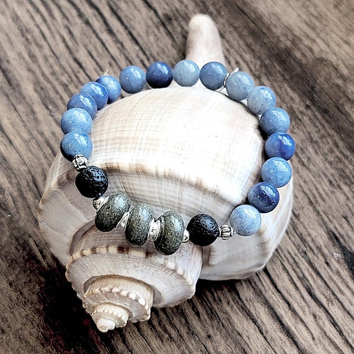 Isle of Palms Beach Sand Bracelet with Blue Aventurine Gemstones