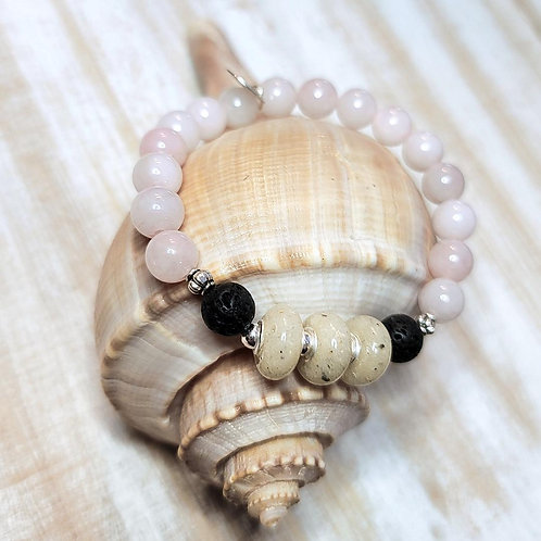 Anna Maria Island Beach Sand Bracelet with Rose Quartz Gemstone Beads
