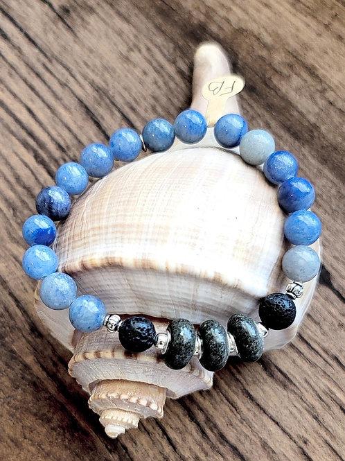 Folly Beach Sand Bracelet with Gemstone Beads